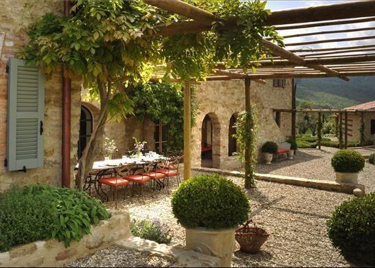 Luxury Italian Farmhouse Outdoor patio
